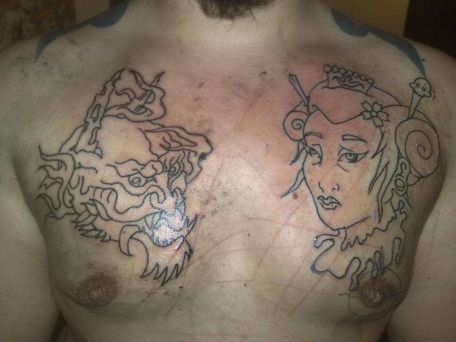 Desperado tattoo for Chest plate tattoos