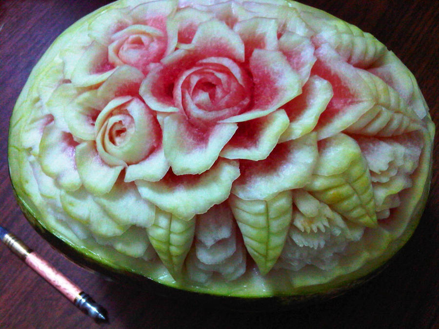 First watermelon carving by nomarionette on deviantart