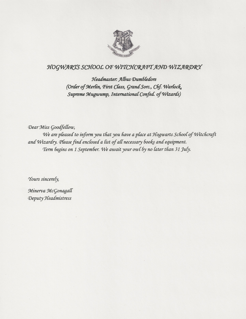 Goodfellow Acceptance Letter By RoseGranger On DeviantArt