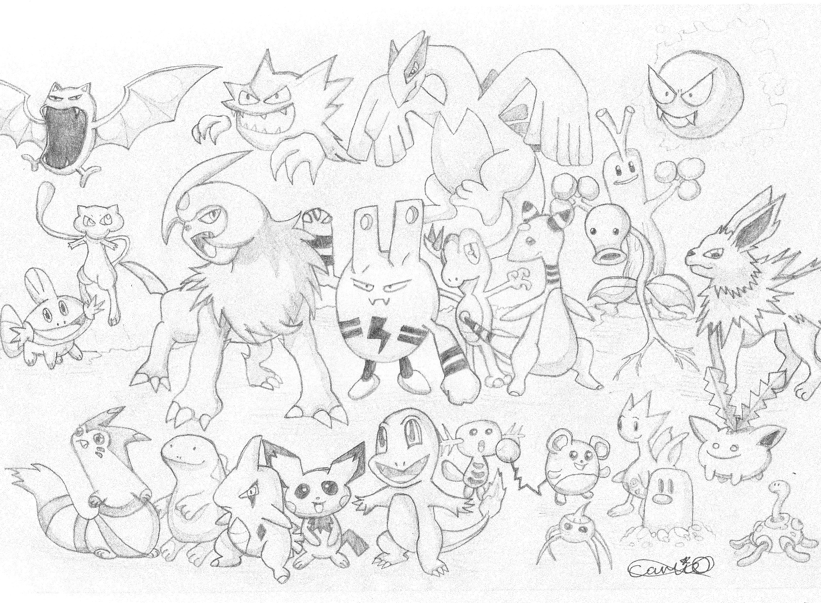 Pokemon no colour by Carlie-NuclearZombie