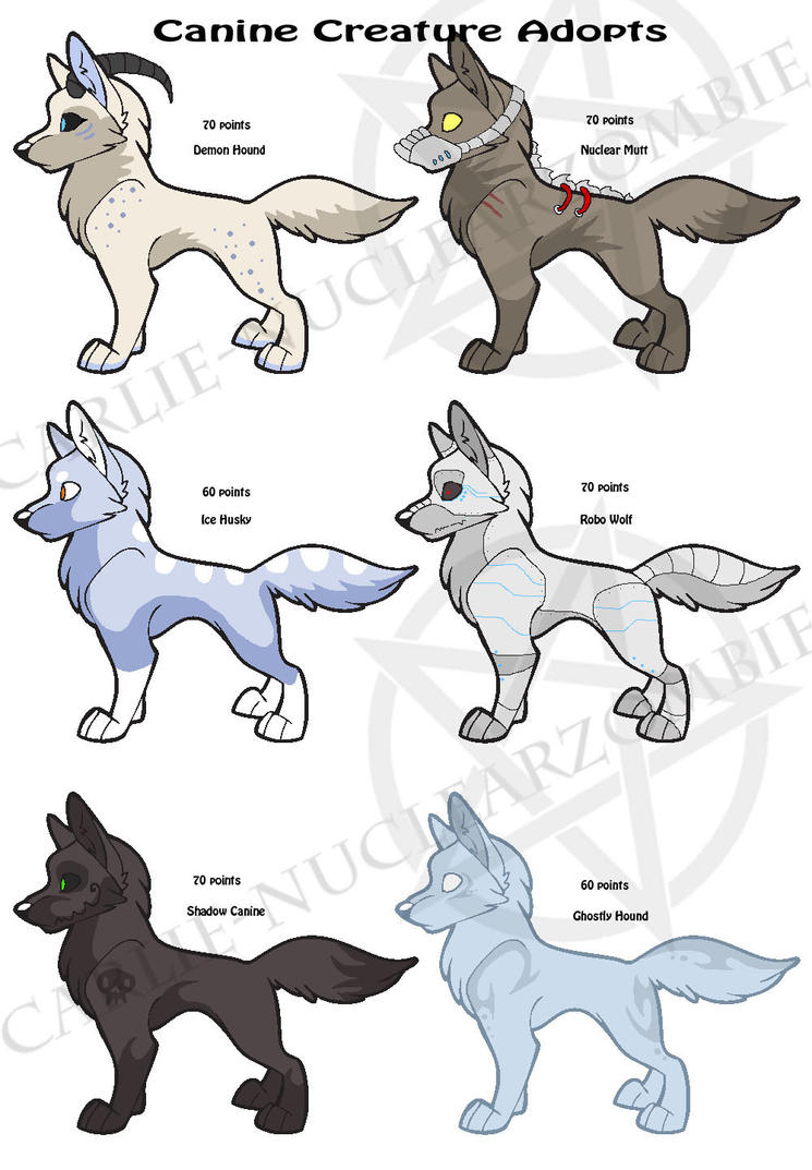Canine creature adopts- OPEN by Carlie-NuclearZombie