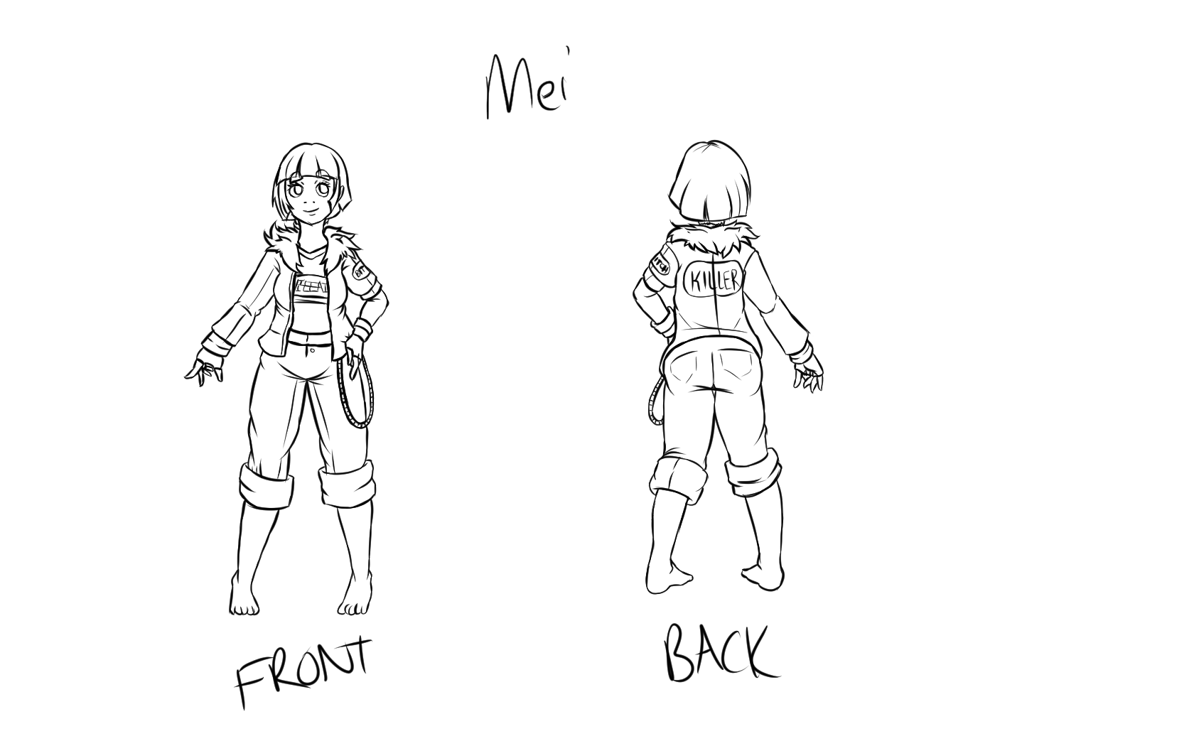 Single Line Character Art : Mei character design clothed line art by misterfinch on