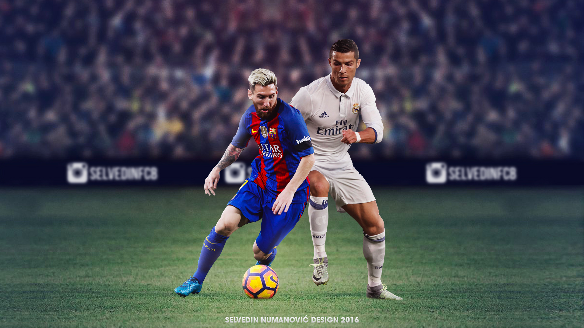 messi vs ronaldo hd wallpaper by selvedinfcb on deviantart