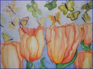 Orange Tulips and Butterflies by cudlpnk