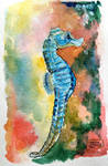 World Watercolor Month - Day 5 (Seahorse)