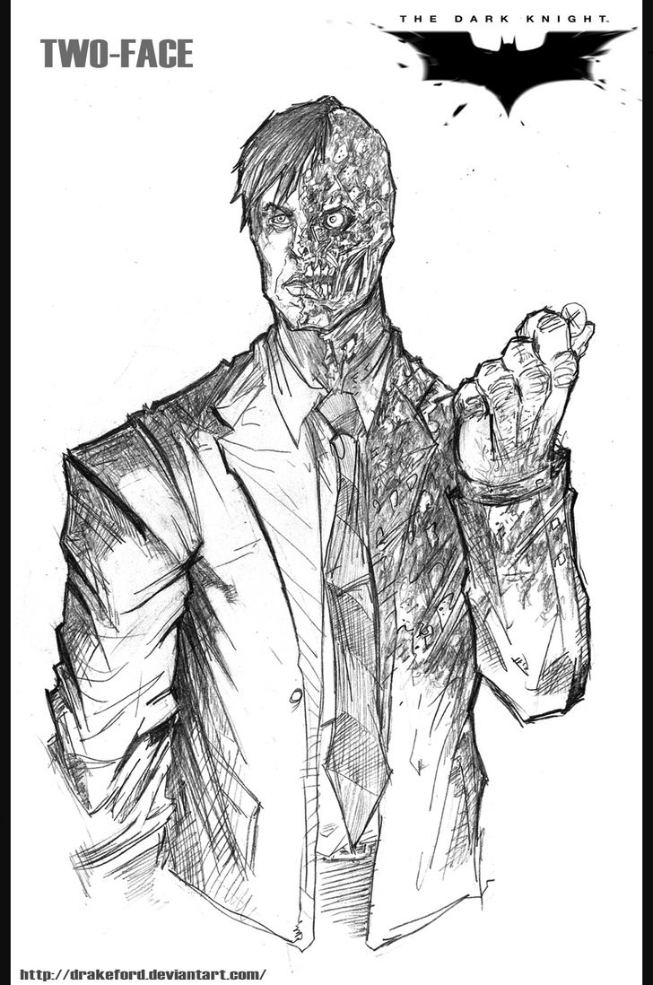 batman dark knight coloring pages - two face the dark knight by drakeford on deviantart