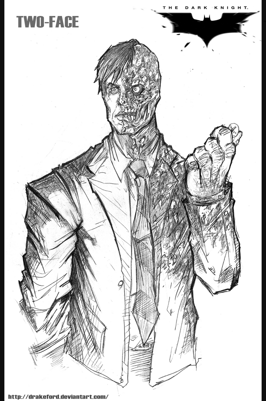 how to draw two face from the dark knight