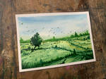 Green landscape painting in watercolour