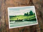Watercolour landscape greenery scene