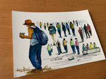 Human Figures in watercolour