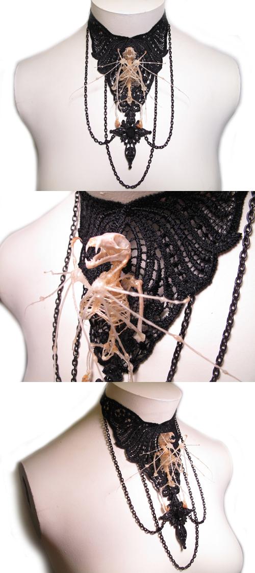 Bat Skeleton Gothic Choker Real Bone Jewelry by BoneJewelry