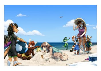A Day at the Beach by TheTiedTigress