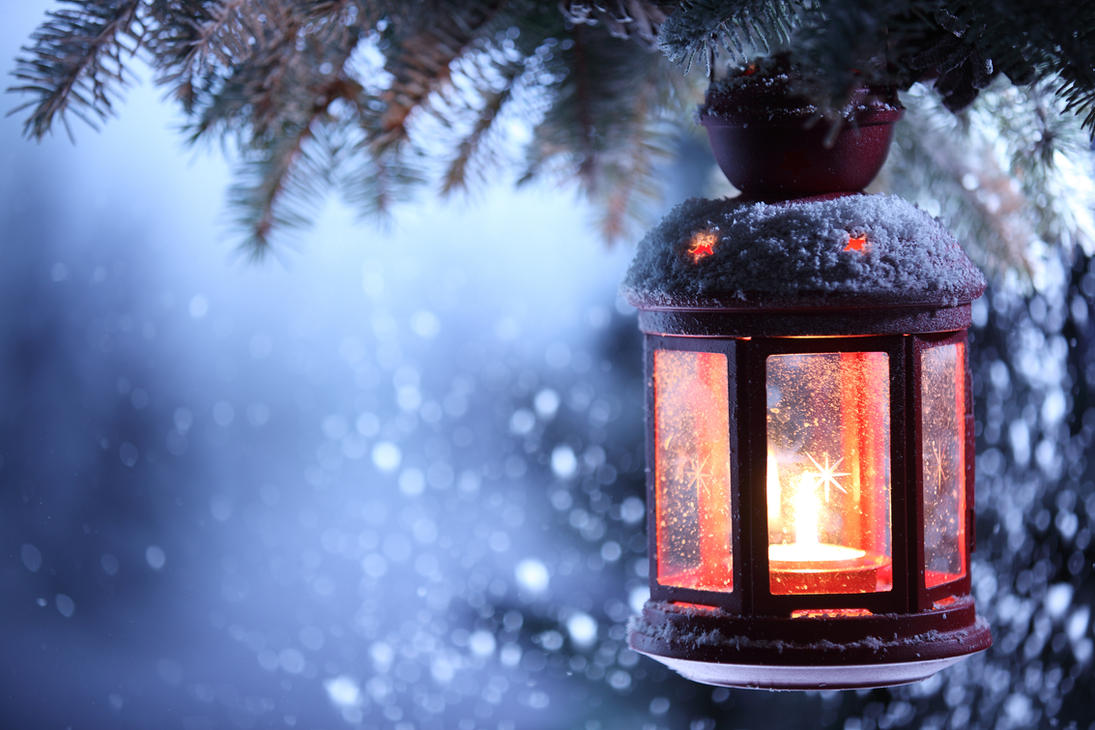 Christmas lantern with snowfal by shashaa