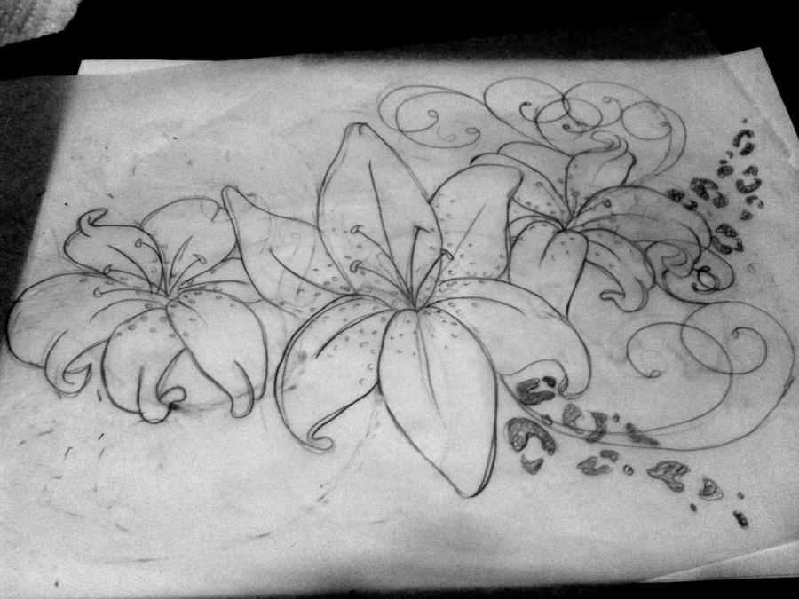 lilies swirls leopard print by brittneystar on deviantart. Black Bedroom Furniture Sets. Home Design Ideas