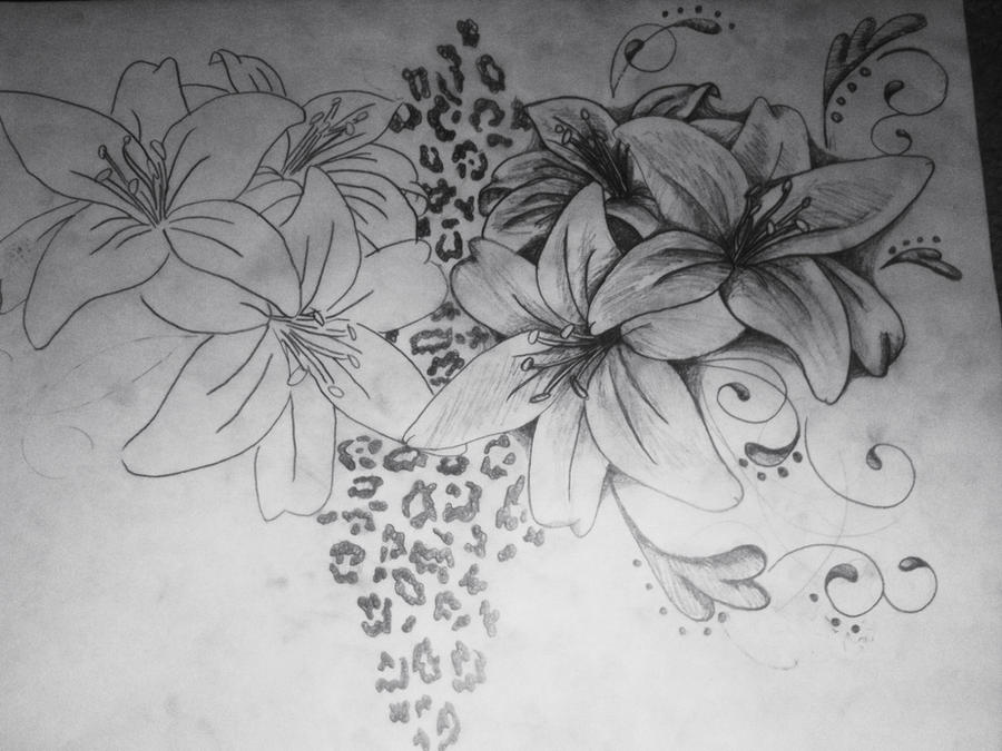 Zebra print flower tattoos - photo#2
