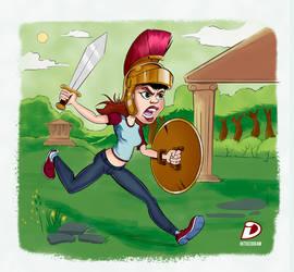 Warrior woman cartoon by intocidraw