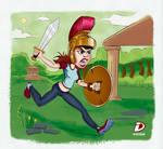 Warrior woman cartoon