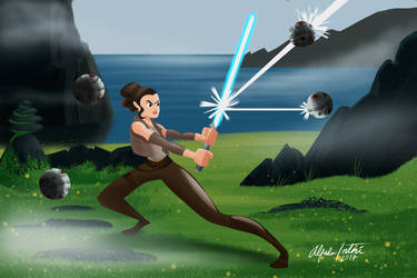 Star Wars Rey practicing fan art by intocidraw