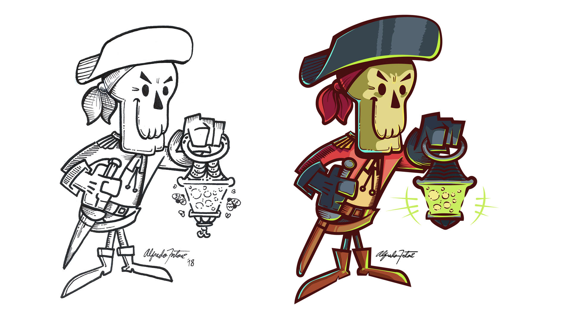 Pirate Skeleton Character. by intocidraw