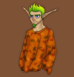Jak in a fall sweater