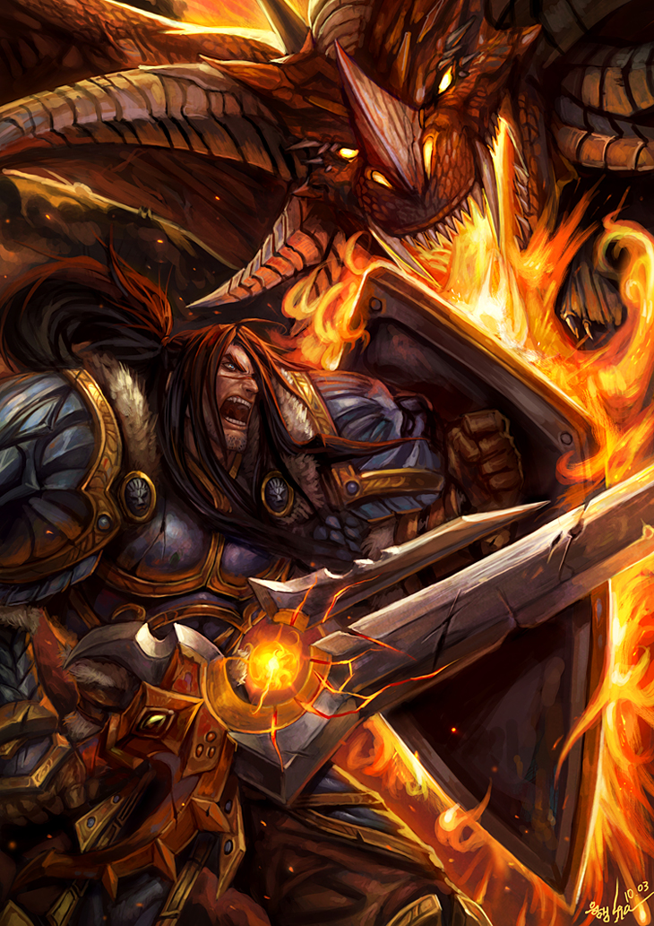 Varian Wrynn vs Dragon by SiaKim