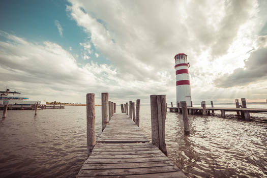 Pier With A Lighthouse Vintage Edit
