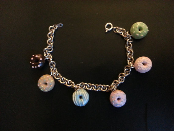 Miniature Donut Charm Bracelet by dreamylittlethings