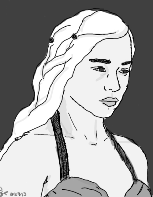 Daenerys Targaryen Grayscale by Wishiwasahobbit