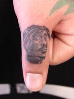 Miniature Portrait of Tupac on THUMB by Mariotattoos