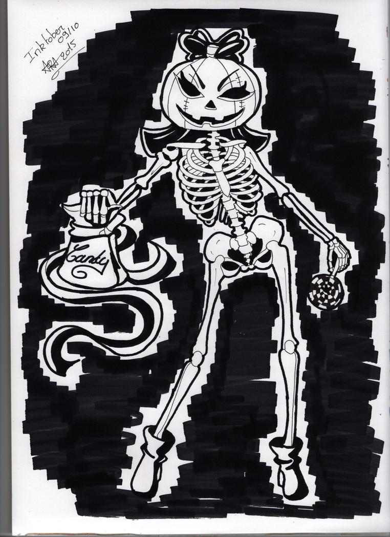 Inktober 9 Candy Pumpkin  Skeleton Girl by Yueyun