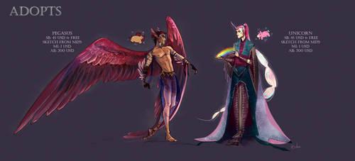 ADOPTS (OPEN) -unicorn and pegasus - humanization by iaVako