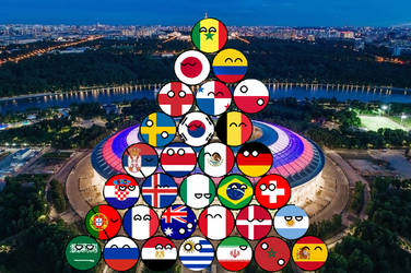 World Cup  2018, the 32 teams in countryballs by Gmo12