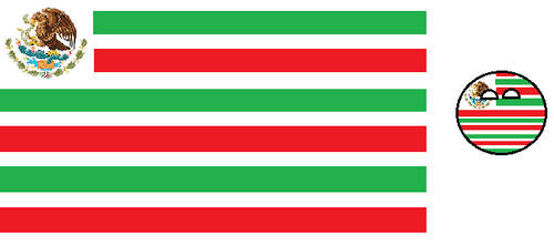 Mexican Flag as USA Style Flag and its countryball by Gmo12
