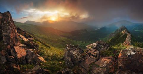 Sunset in Carpathian Mountains. Ukraine