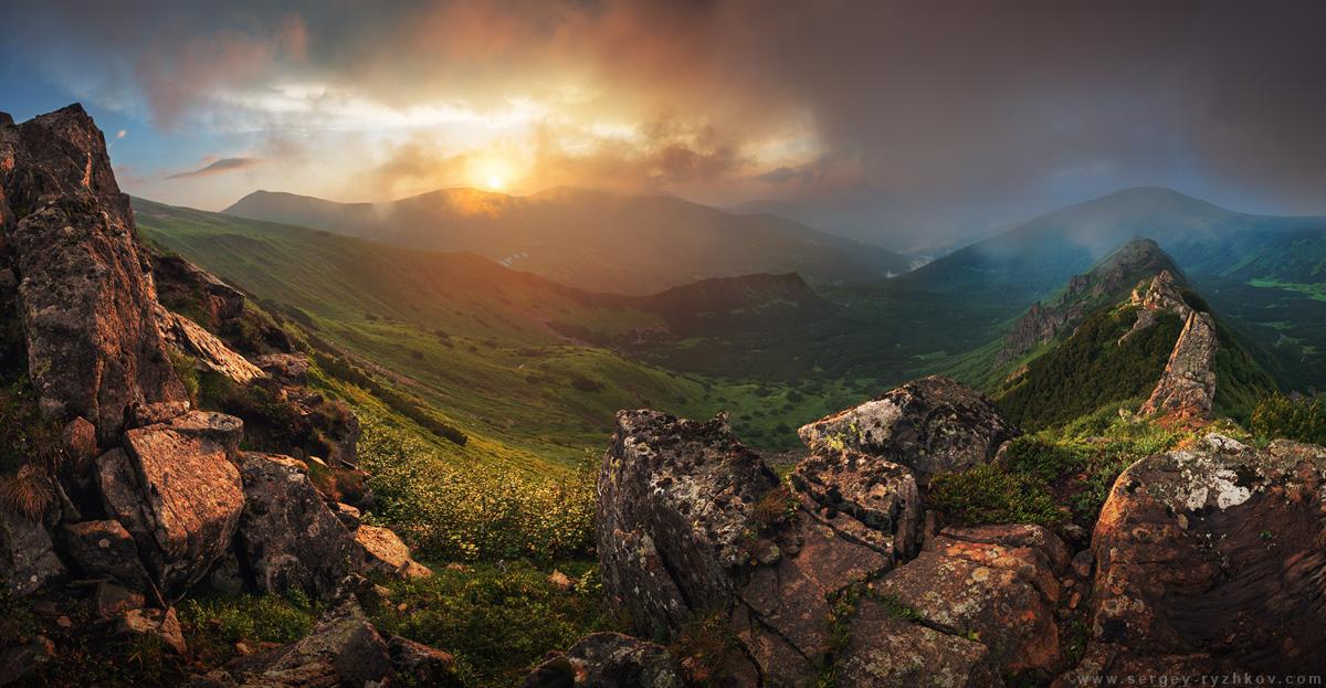Sunset in Carpathian Mountains. Ukraine by Sergey-Ryzhkov