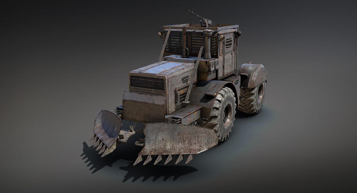 Post-apocalypse Tractor (Low-Poly) by Sergey-Ryzhkov
