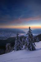 Evening in winter mountains by Sergey-Ryzhkov