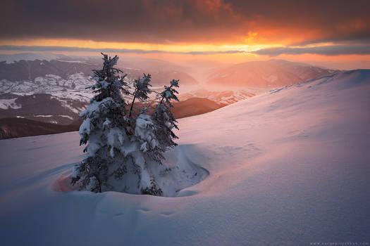 Beautiful sunset in winter Carpathians