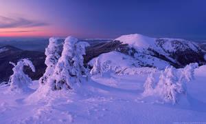 Berlebashka mount in twilight. Carpathians