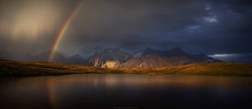 Rainbow on Koruldi lakes. Caucasus, Georgia