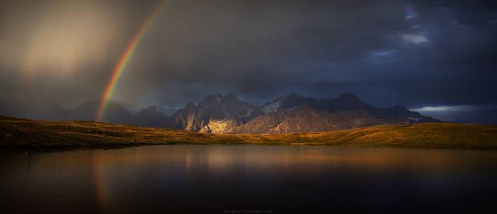Rainbow on Koruldi lakes. Caucasus, Georgia