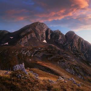 Sunset in mountains of Racha-Lechkhumi, Georgia by Sergey-Ryzhkov