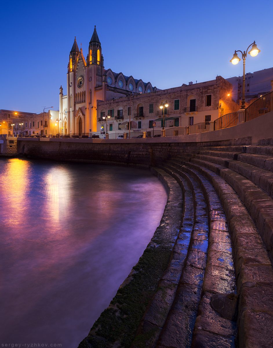 Carmelite Church. Balluta Bay, Malta by Sergey-Ryzhkov