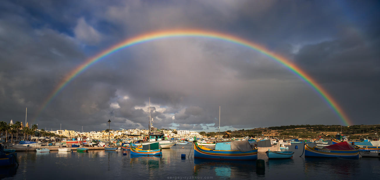 Rainbow over the Marsaxlokk, Malta by Sergey-Ryzhkov