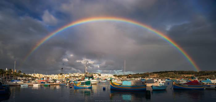 Rainbow over the Marsaxlokk, Malta by Sergey-Ryzhkov