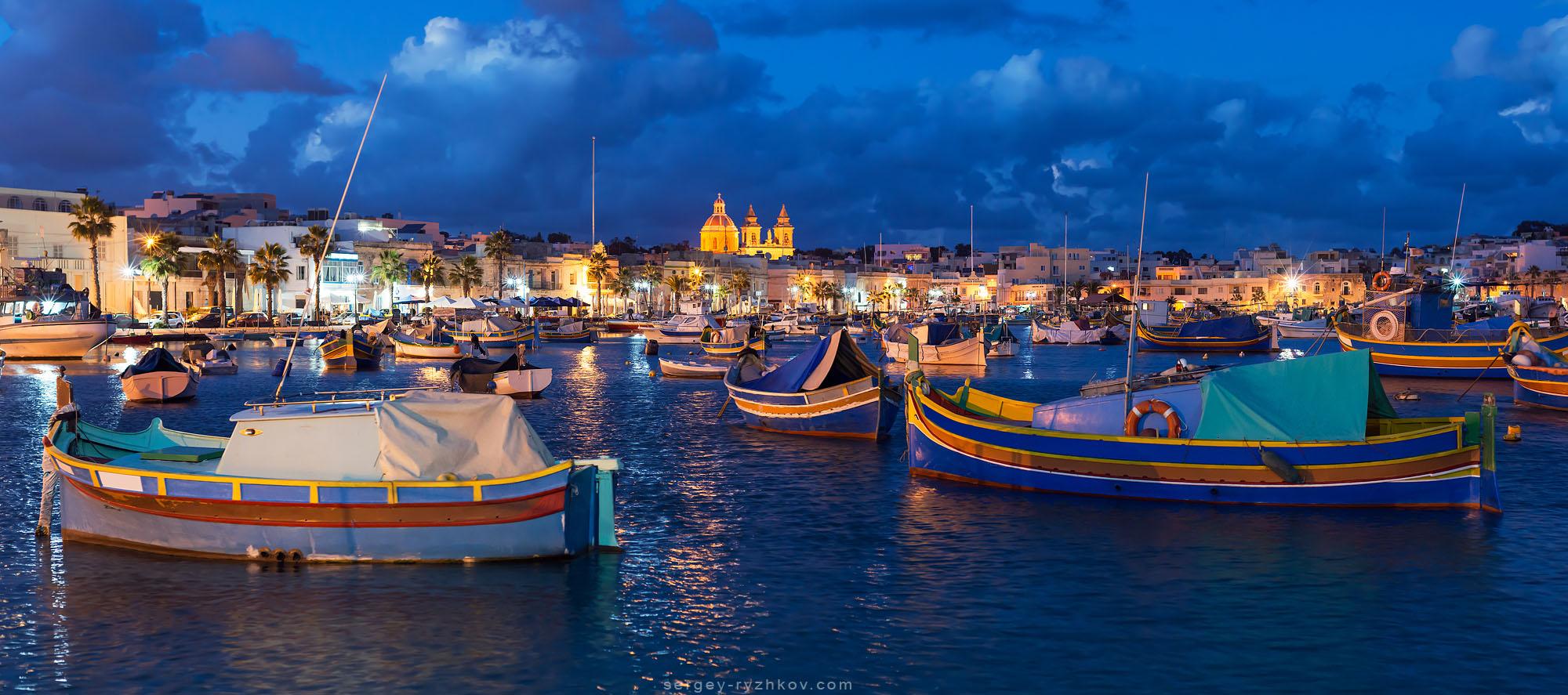 Panorama of night Marsaxlokk, Malta by Sergey-Ryzhkov