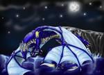 Leuni flying over the sea