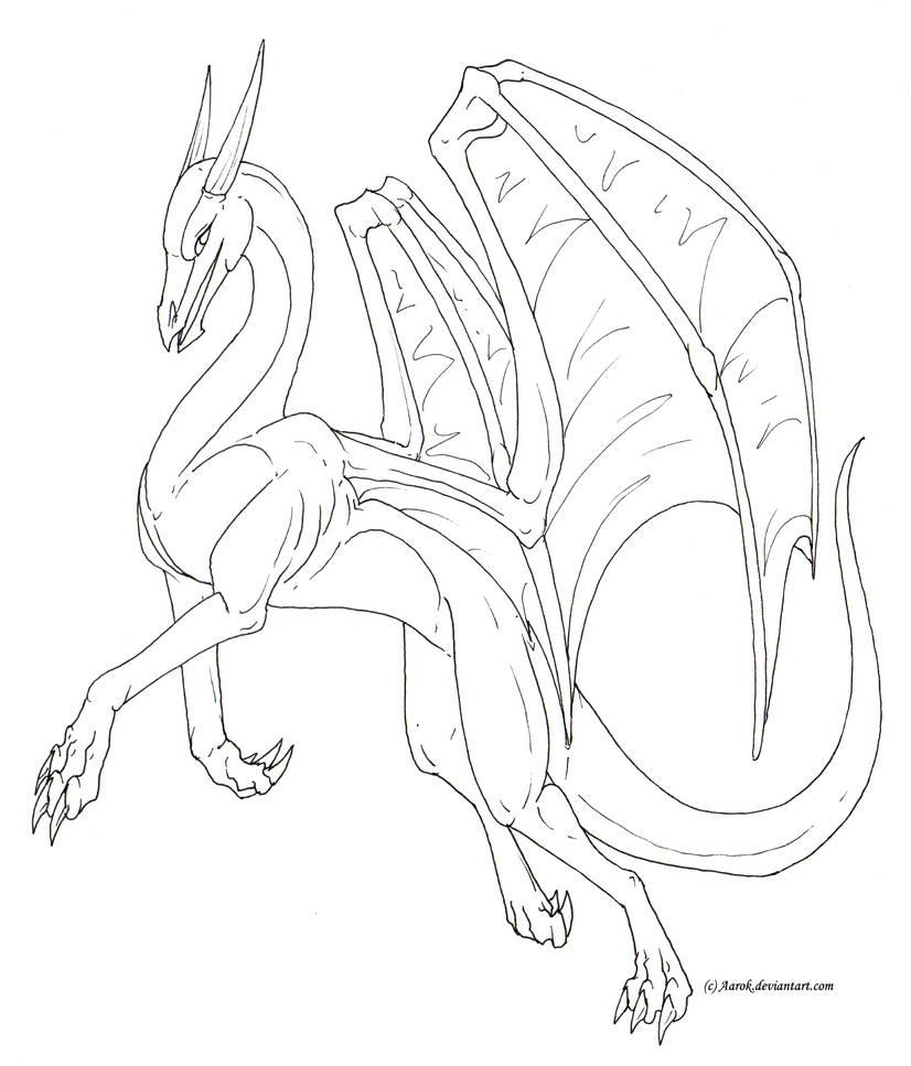 Female dragon lineart free by aarok