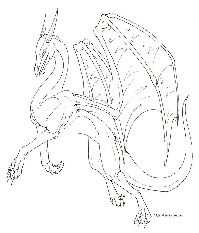 One Line Body Art : Female dragon lineart free by aarok on deviantart