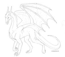 Male dragon lineart -free to use- by Aarok
